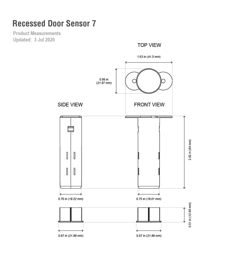 aeotec recessed door sensor 7 dimensions