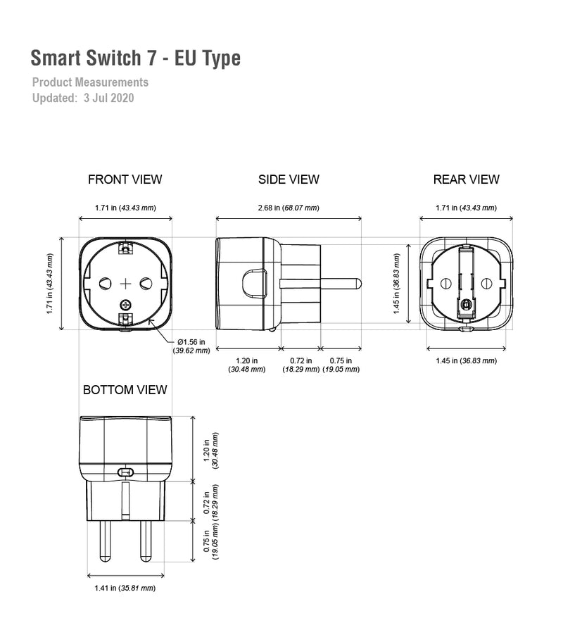 aeotec smart switch 7 eu type dimensions