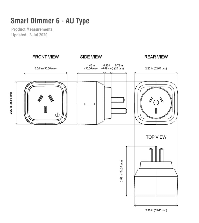 aeotec smart dimmer 6 au type dimensions
