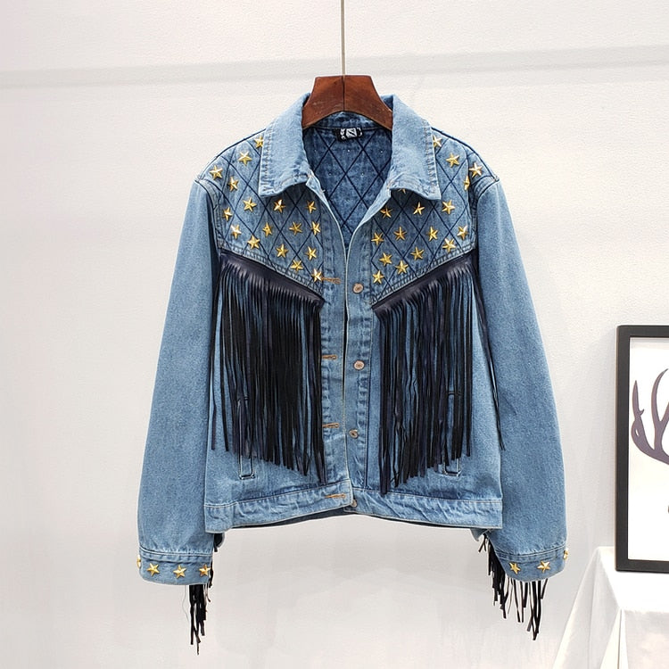 Starry Denim Jacket - AtaCollections