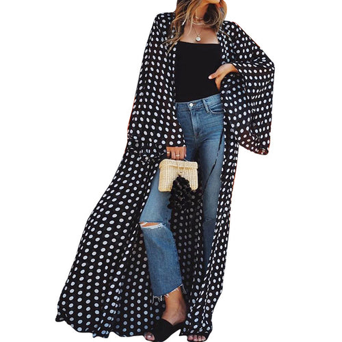 Polka dot loose Cardigan - AtaCollections
