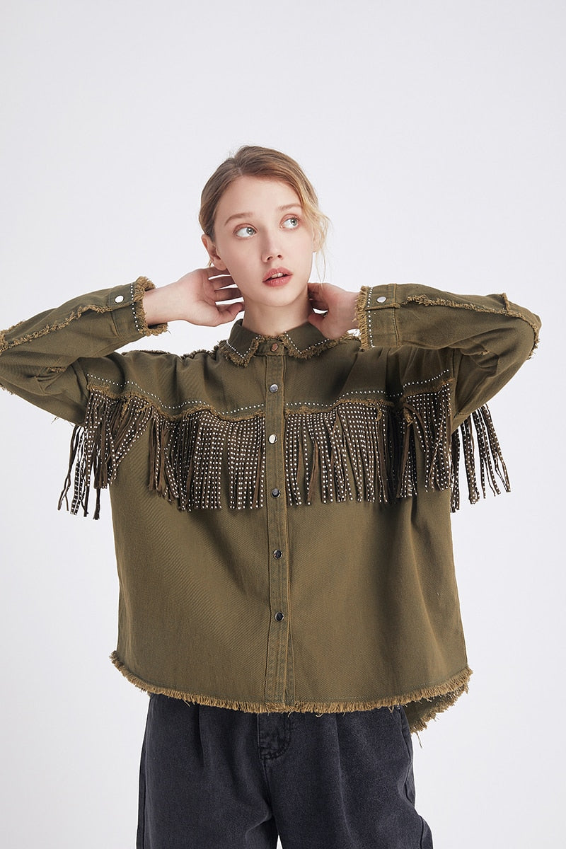 Denim Frayed Jacket - AtaCollections