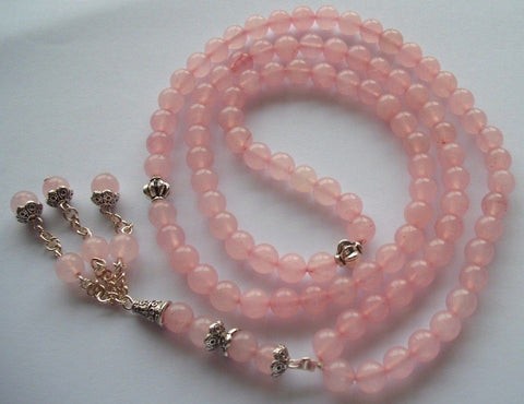 Rose quartz Mesbaha (tasbih). islamic praying beads rose quartz gemstone