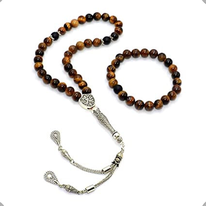 Tiger eye pack Mesbaha (tasbih) islamic praying beads and bracelet gemstone