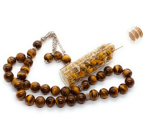 Tiger eye Mesbaha (tasbih) islamic praying beads tiger eye gemstone