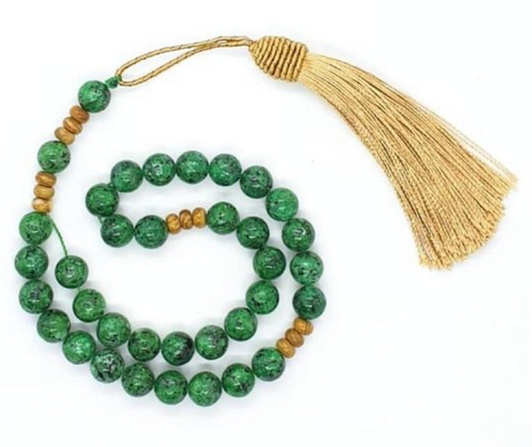 Mesbaha (tasbih) islamic praying beads green jade gemstone