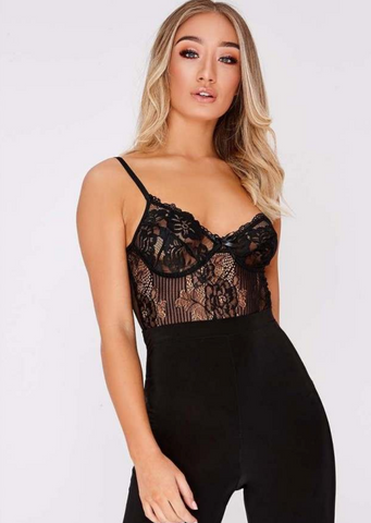 Lace Striped Bodysuit Black