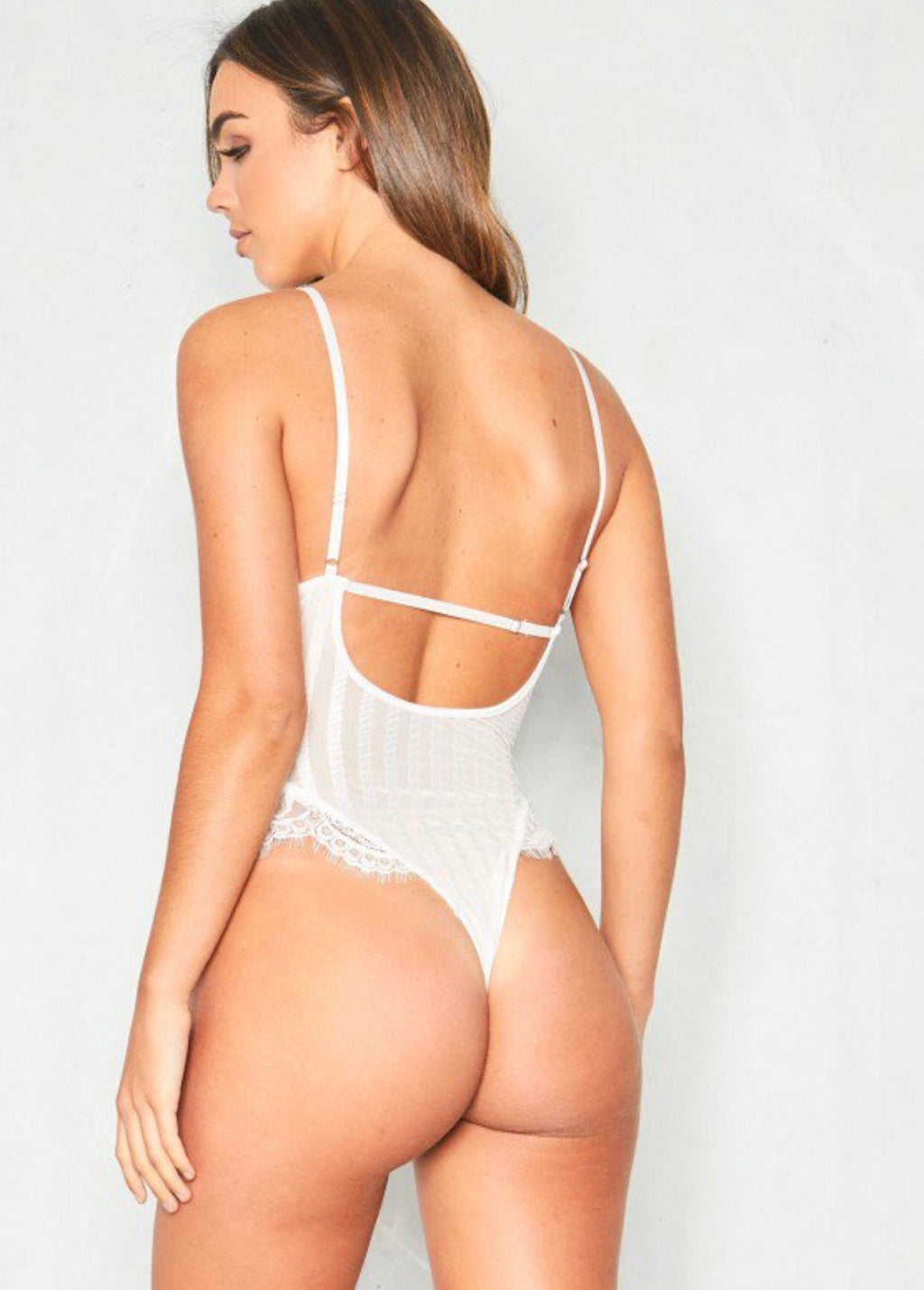 Lace Striped Bodysuit White
