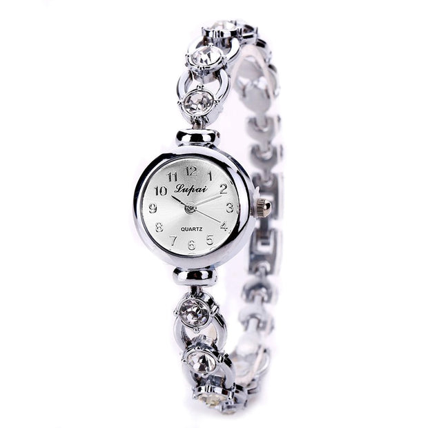 Gold Bracelet Rhinestones  Wrist Watches Luxury Elegant Ladies Women Analog Quartz Watch Women's Crystal Small Dial