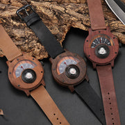 Wooden Turntable Compass Watch