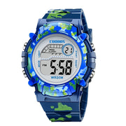 Kids Watches Colorful LED Digital Flash, Waterproof Clock for Boys and Girls, Calendar Creative Kids Watch Navy Blue Camouflage Kids