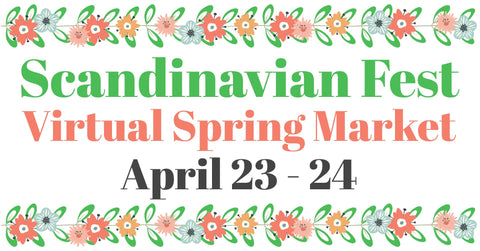 Scandinavian Fest Spring Market Ad with pink and green flowers.