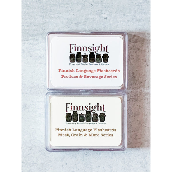 Set of Two Finnish Language Flashcards (Produce & Meat)