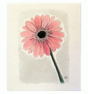 Gerbera, art dishcloth