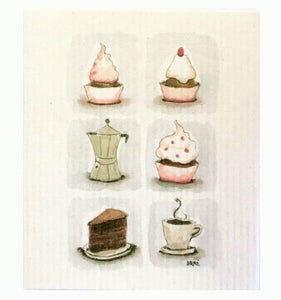 Cupcakes, art dishcloth