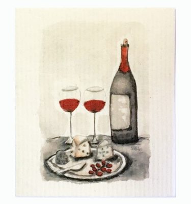 Wine and Cheese, art dishcloth