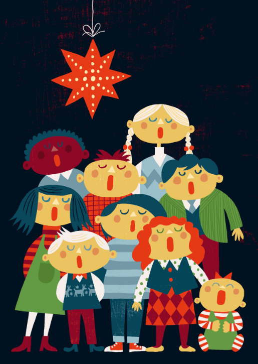 Dark background with red hanging star and 9 children singing.