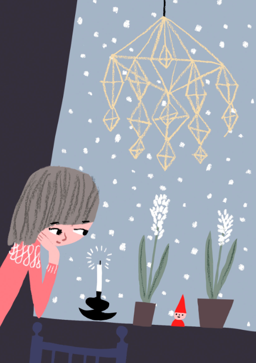 Finnish christmas scene with girl in a pink sweater looking at a candle, little elf and 2 white potted hyacinth flowers on a table with a himmeli hanging above and a snowy blue window in the background.