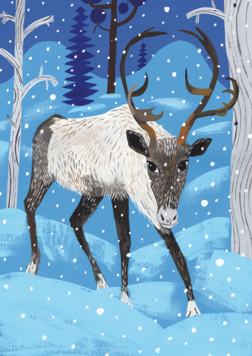 White and dark grey reindeer with large brown horns stands in a snowy forest with snow coming from the sky.