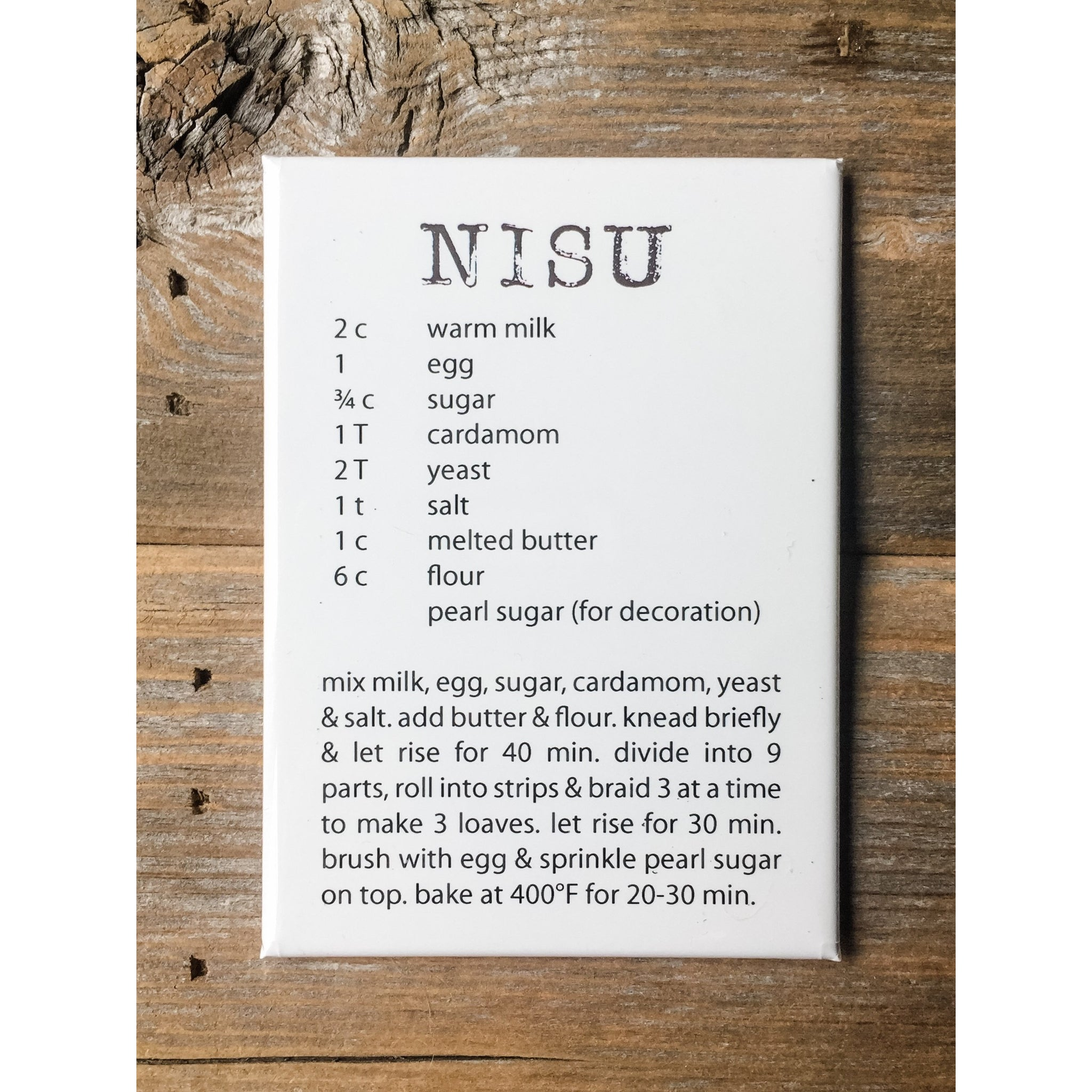 Nisu Recipe Magnet