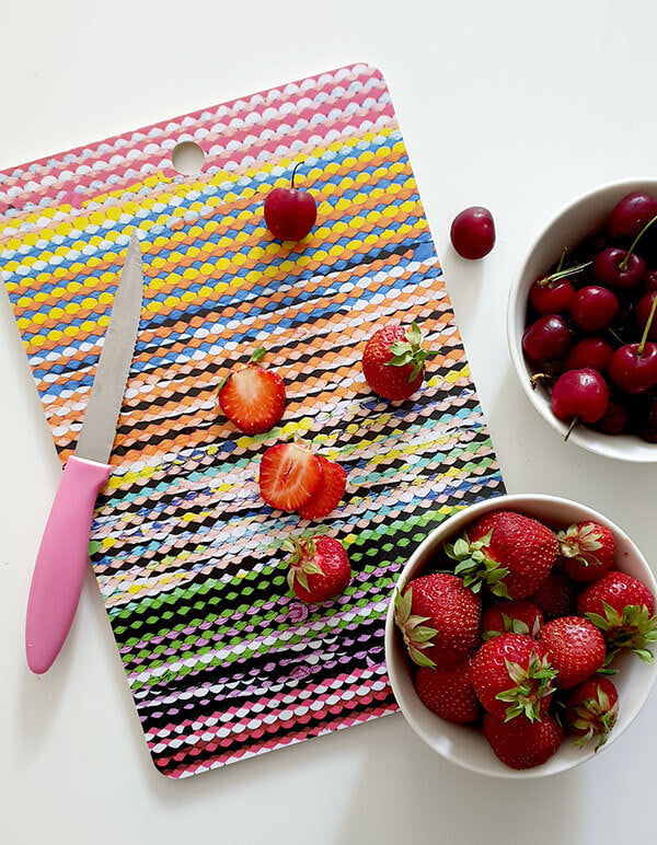 Colorful Rag Rug Cutting Board by Mieli Design