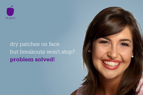 dry patches on face but breakouts won't stop? problem solved!