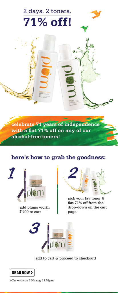 Plum Independence Day Offer - 71% Off on Toners