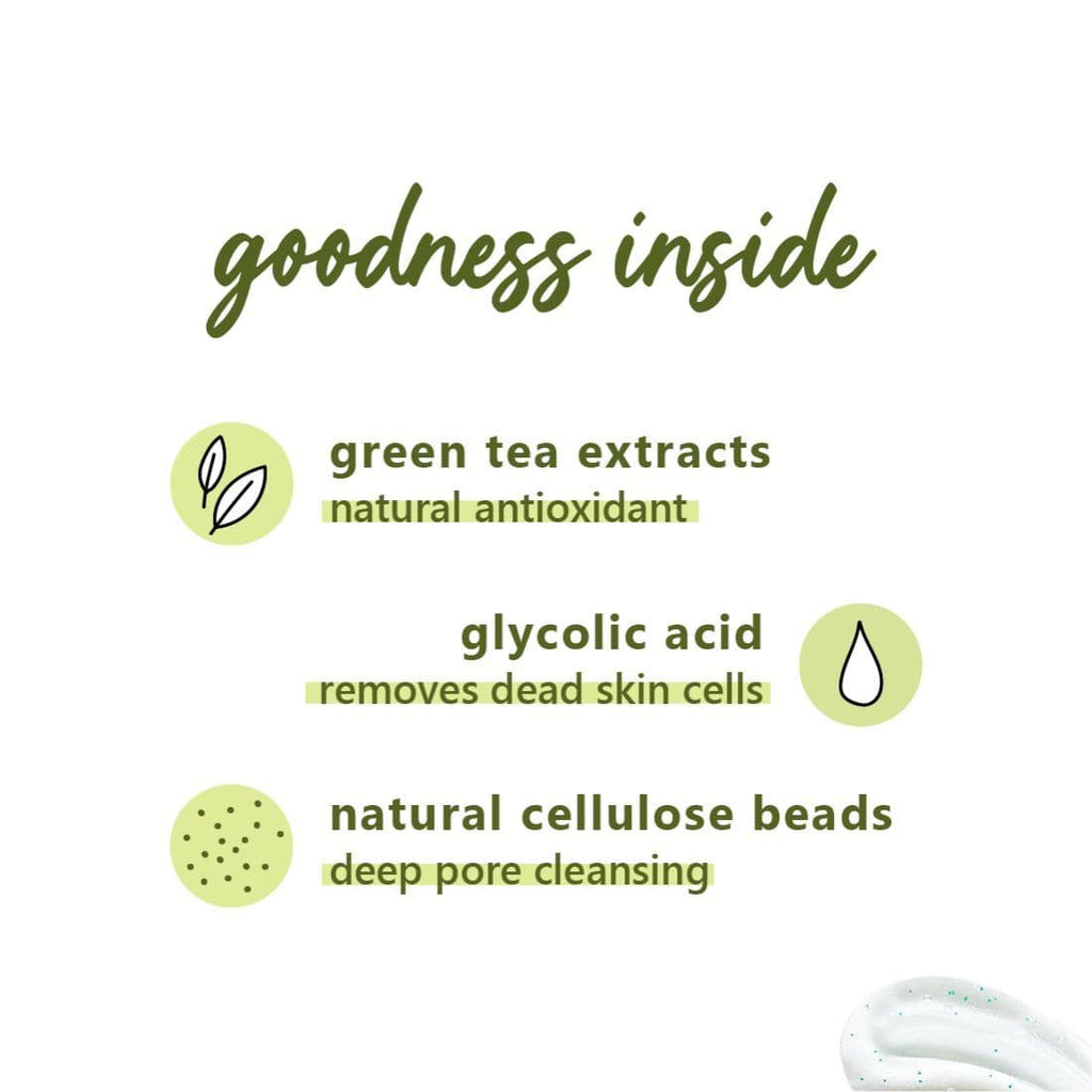 Green Tea Gentle Revival Face Scrub | Oily, Acne-Prone Skin | Gentle Cellulose Beads, 100% Vegan