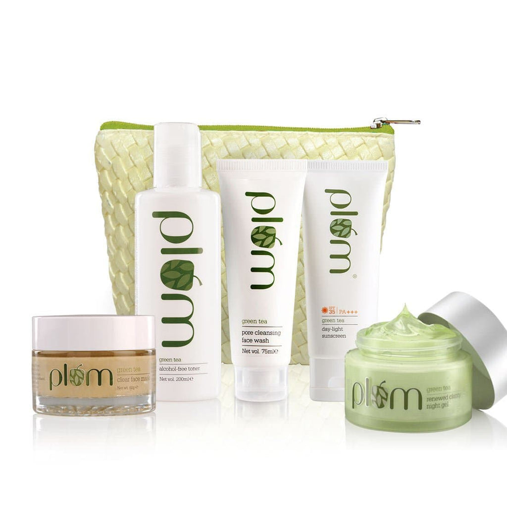 Daily + Weekly Green Tea Kit (With SPF) For Clearer Skin | Free Bag