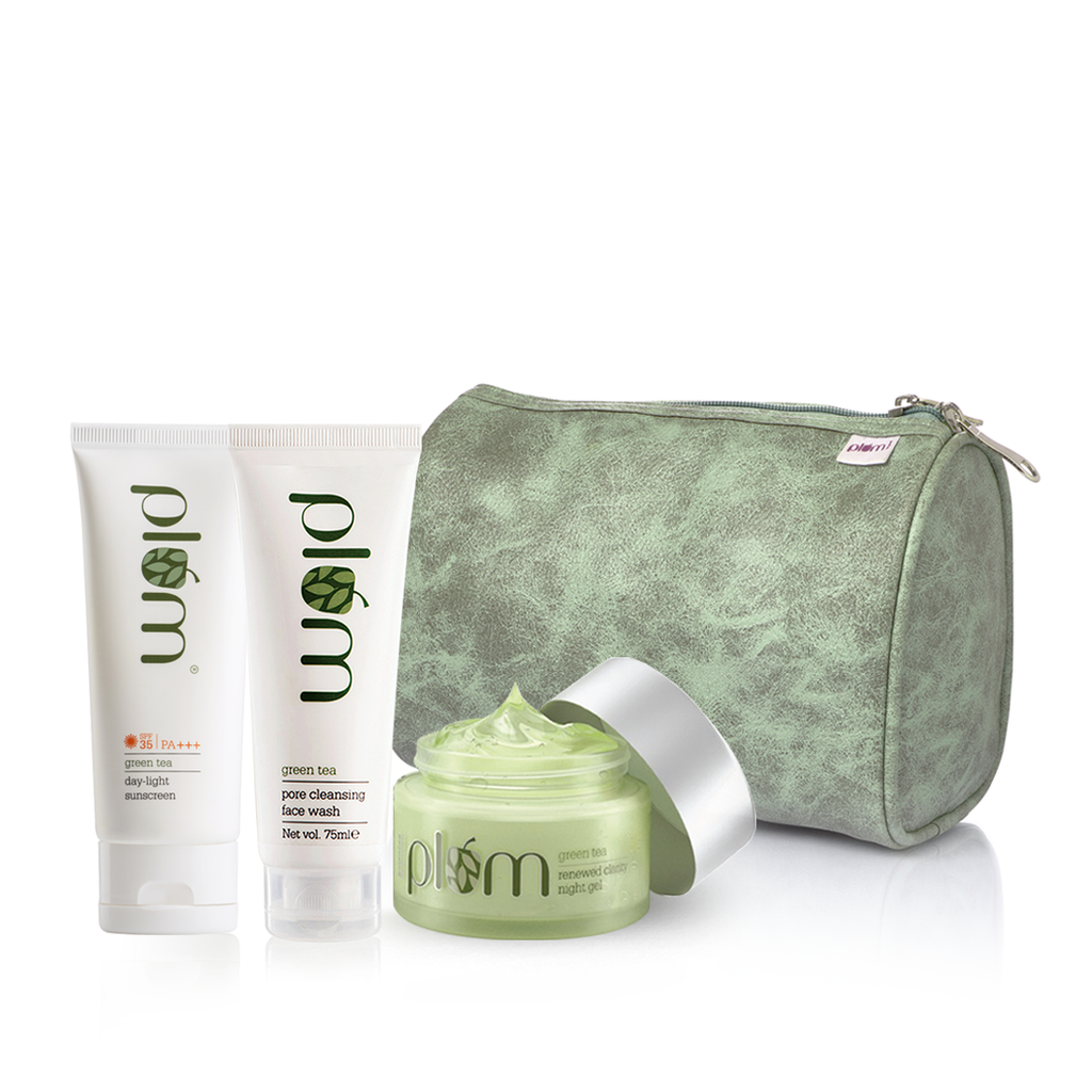 Green Tea AM-PM Summer Essential Kit for Oily Skin - Limited Edition | For Clean, Acne-Free Skin | Free Marble Pouch