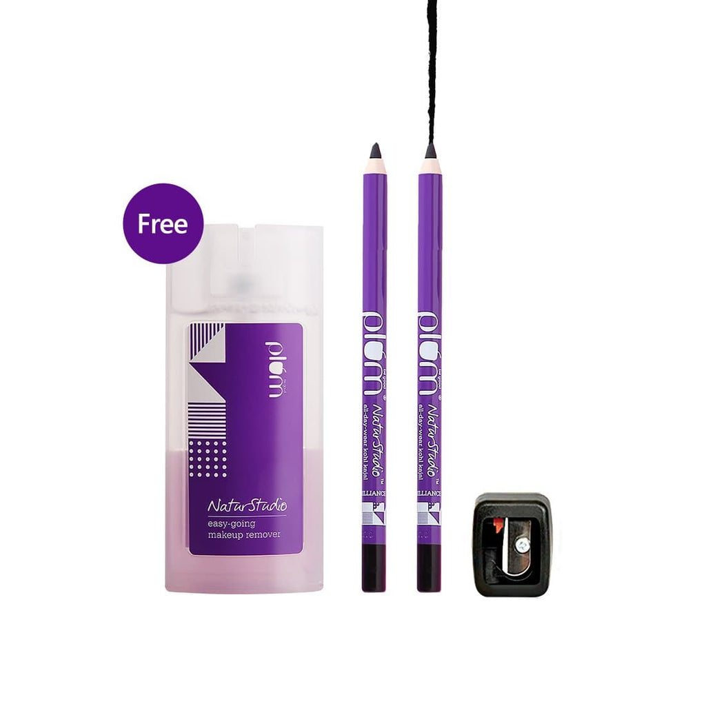 NaturStudio All-Day-Wear Kohl Kajal Twin Pack in Black Brilliance Shade - with FREE Makeup Remover!