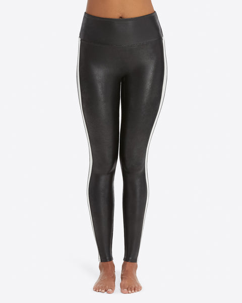 Spanx - Very Black With White Stripe Moto Leggings