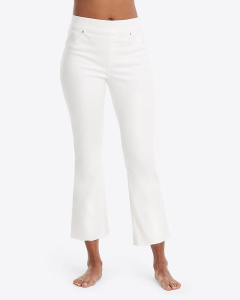White Cropped Flare Denim Spanx