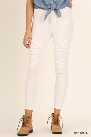 Off White Washed Moto Jeggings