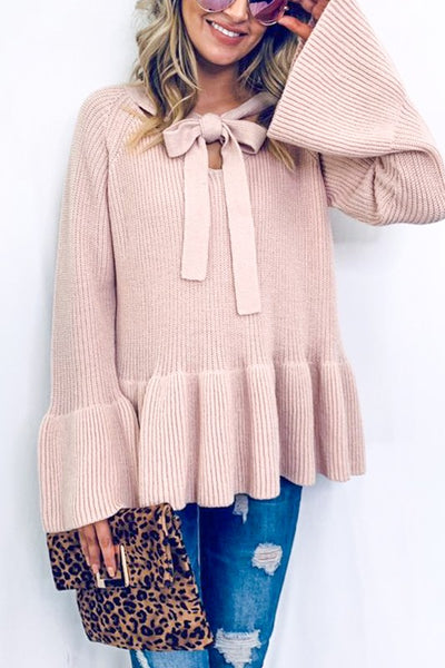 Baby Pink Bell Sleeve Sweater