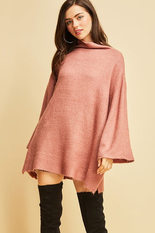 Mauve Flare Sleeve Sweater