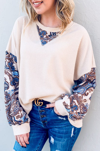 Oatmeal Paisley Top