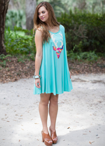 Turquoise Shift Dress With Deer Head