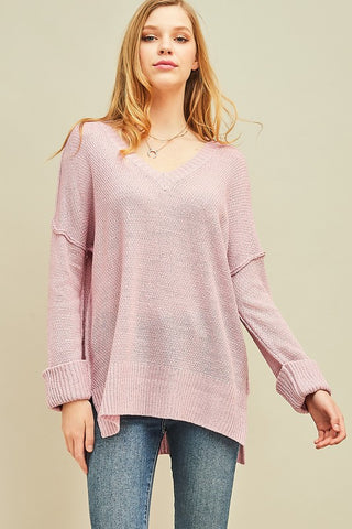 Mauve Knitted V-neck Top