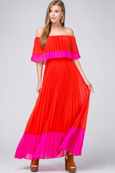 Tomato Color Block Pleated Dress