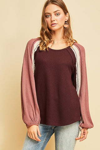 Burgundy Waffle Knit Top