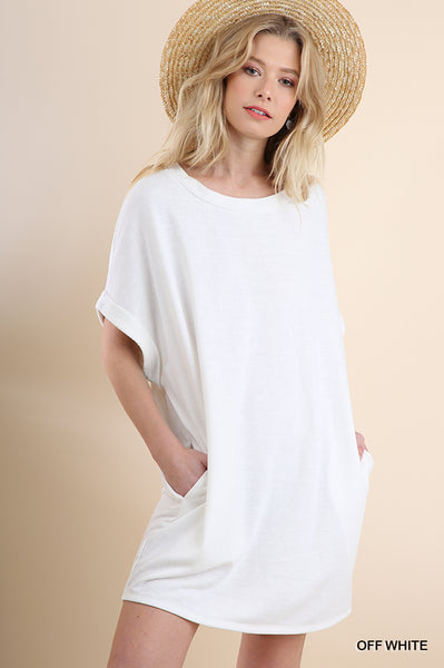 Off White French Terry Pocket Dress