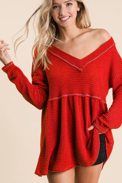 Red Waffle V-Neck Top