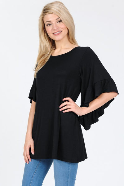 Black Ruffled Sleeve Top