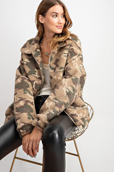 Camel Camo Teddy Jacket