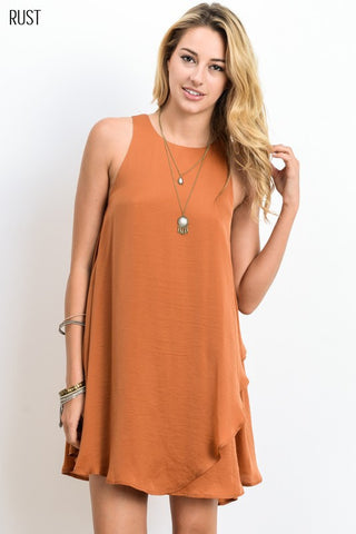 Rust Keyhole Back Dress