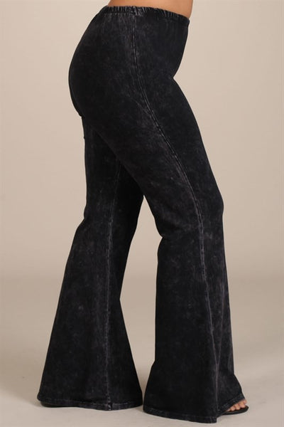 Black Bell Bottom Mineral Washed Pants - Plus Size