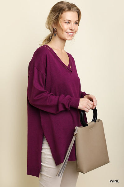 Wine Grey High Low Pullover