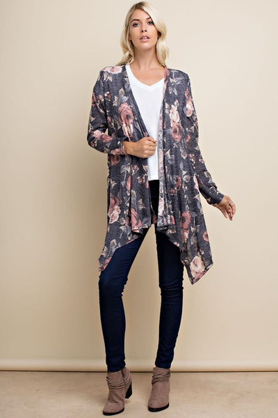 Floral Print Long Sleeve Cardigan (Dusty Pink or Grey)