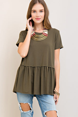 Olive Solid Scoop Neck Top